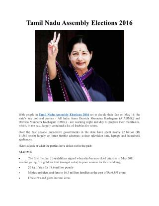 Tamil Nadu Assembly Elections 2016