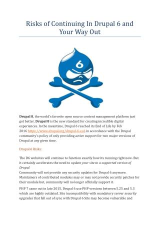 Risks of Continuing In Drupal 6 and Your Way Out