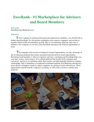 ExecRank - #1 Marketplace for Advisors and Board Members