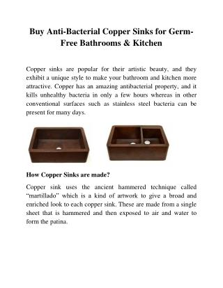 Buy Anti-Bacterial Copper Sinks for Germ-Free Bathrooms and Kitchen