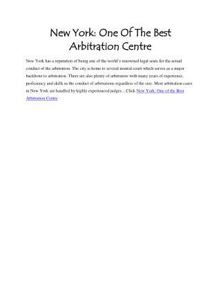 New York: One Of The Best Arbitration Centre