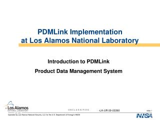 PDMLink Implementation at Los Alamos National Laboratory
