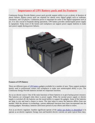 Importance of UPS Battery pack and Its Features