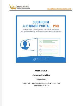 WordPress SugarCRM Customer Portal Pro Plugin