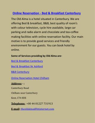 Online Reservation - Bed & Breakfast Canterbury