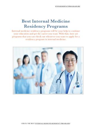 Internal Medicine Residency Programs