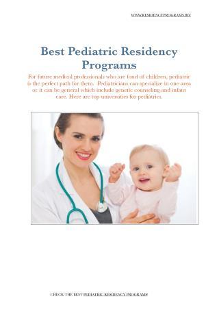 Pediatric Residency Programs