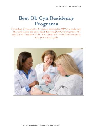 OB GYN Residency Programs
