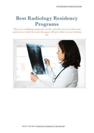 Radiology Residency Programs