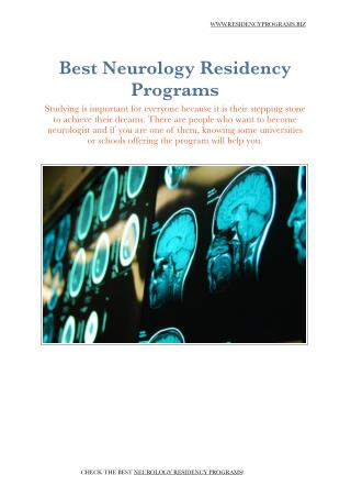Neurology Residency Programs
