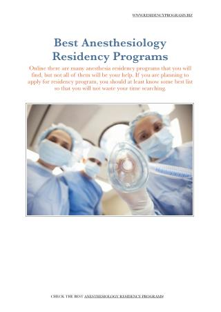 Anesthesiology Residency Programs