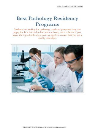 Pathology Residency Programs