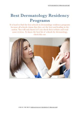 Dermatology Residency Programs
