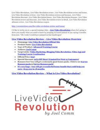Live Video Revolution review-(SHOCKED) $21700 bonuses
