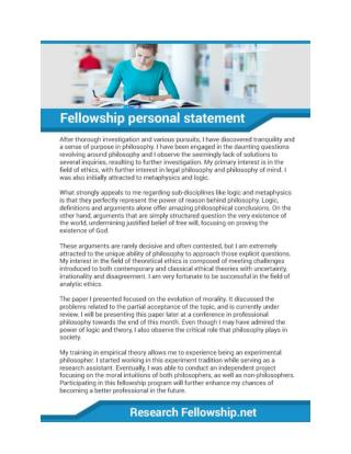 Fellowship Personal Statement Sample