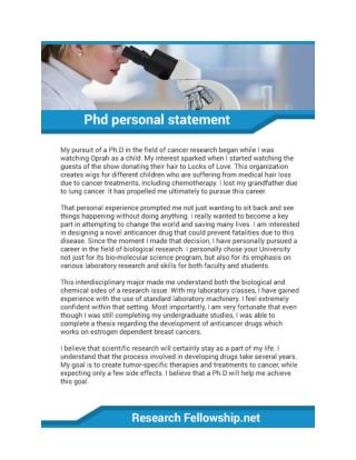 PhD Statement of Purpose Sample