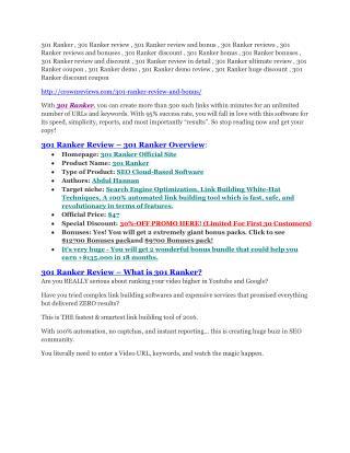 301 Ranker review - 65% Discount and FREE $14300 BONUS