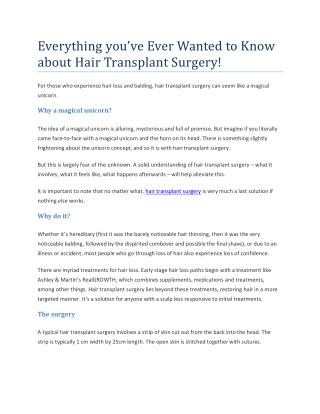 Everything You've Ever Wanted To Know About Hair Transplant Surgery