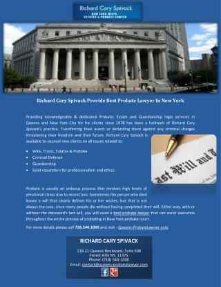 Richard Cary Spivack Provide Best Probate Lawyer In New York