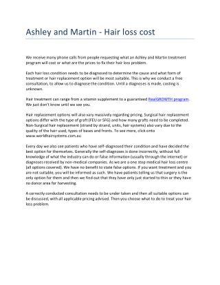 Ashley and Martin - Hair loss cost