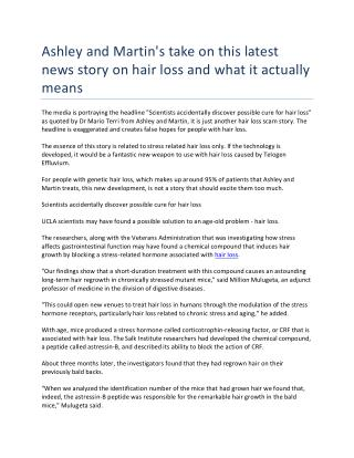 Ashley and Martin's take on this latest news story on hair loss and what it actually means