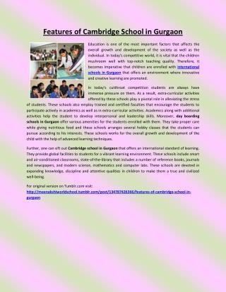 Features of Cambridge School in Gurgaon
