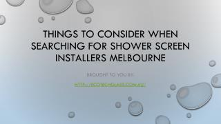 Things To Consider When Searching For Shower Screen Installers Melbour