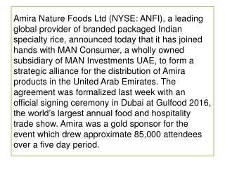 Amira Nature Foods Ltd Announces New Partnership for UAE Market