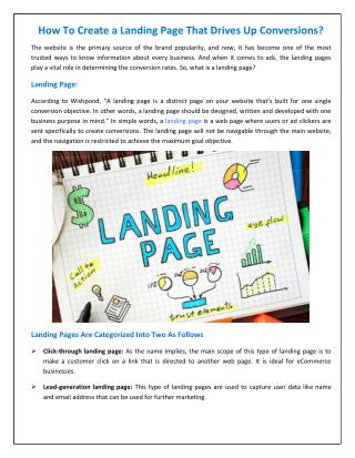 How To Create a Landing Page That Drives Up Conversions?