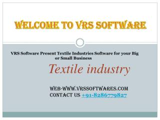 VRS Software Present Textile Industries Software for your Big or Small Business