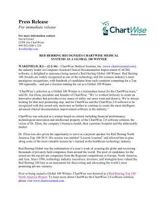 RED HERRING RECOGNIZES CHARTWISE MEDICAL SYSTEMS AS A GLOBAL 10,0,WINNER