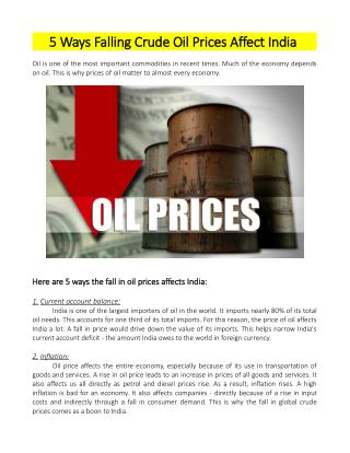 5 Ways Falling Crude Oil Prices Affect India - PolymerMIS