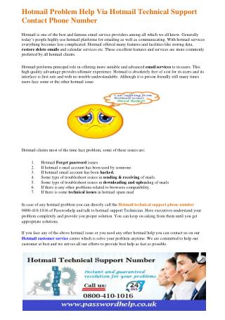 Hotmail Problem Help Via Hotmail Technical Support Contact Phone Number