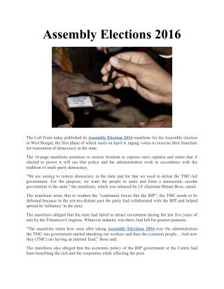 Assembly Elections 2016