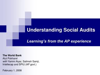 Understanding Social Audits  Learning s from the AP experience