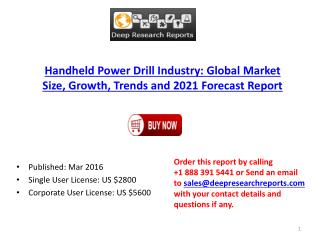 Handheld Power Drill Market 2016-2021 Global Key Manufacturers Analysis Review