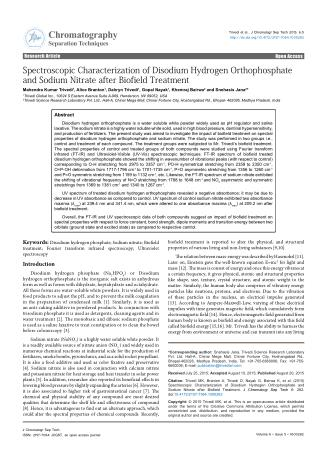 Spectroscopic Characterization of Disodium Hydrogen Orthophosphate and Sodium Nitrate after Biofield Treatment