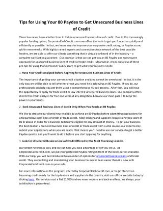 Tips for Using Your 80 Paydex to Get Unsecured Business Lines of Credit