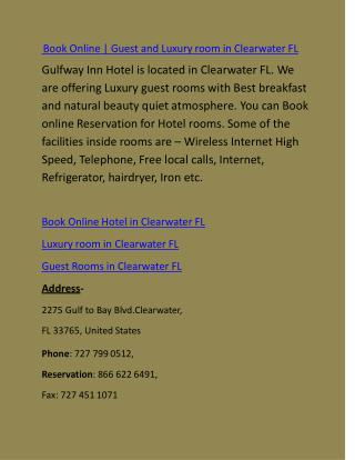 Book Online | Guest and Luxury room in Clearwater FL