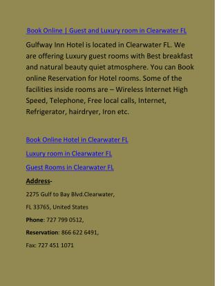 Guest and Luxury room in Clearwater FL