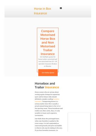 Horse in Box Insurance