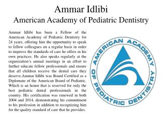 Ammar Idlibi - American Academy of Pediatric Dentistry