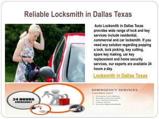 Reliable Locksmith in Dallas Texas
