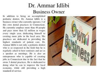 Dr. Ammar Idlibi - Business Owner