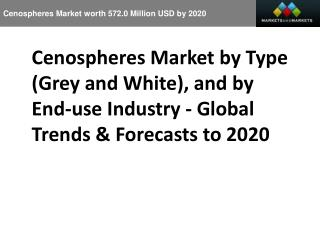 Cenospheres Market worth 572.0 Million USD by 2020