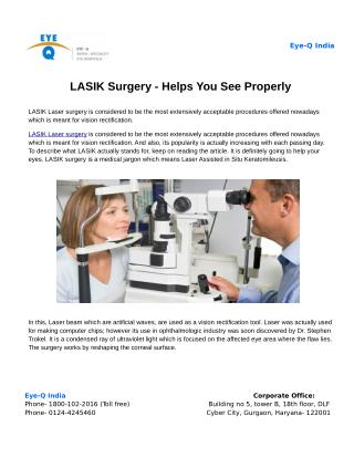 LASIK Surgery - Helps You See Properly