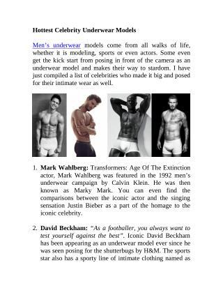 Hottest Celebrity Underwear Models