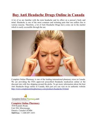 Buy Anti Headache Drugs Online in Canada