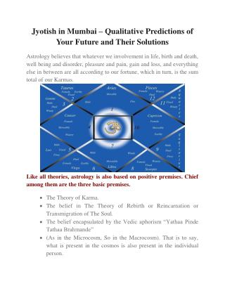 Jyotish in Mumbai � Qualitative Predictions of Your Future and Their Solutions