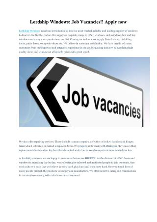 Lordship Windows: Job Vacancies!! Apply now